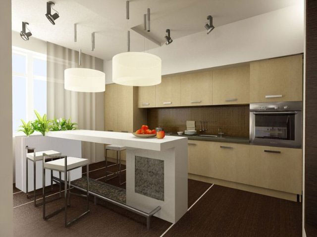 дизайн кухни с барной стойкой совмещённой