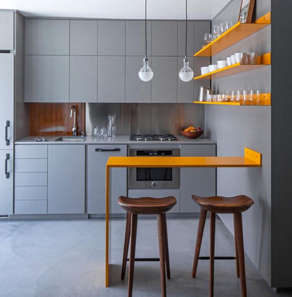дизайн кухни с барной стойкой жёлтого цвета