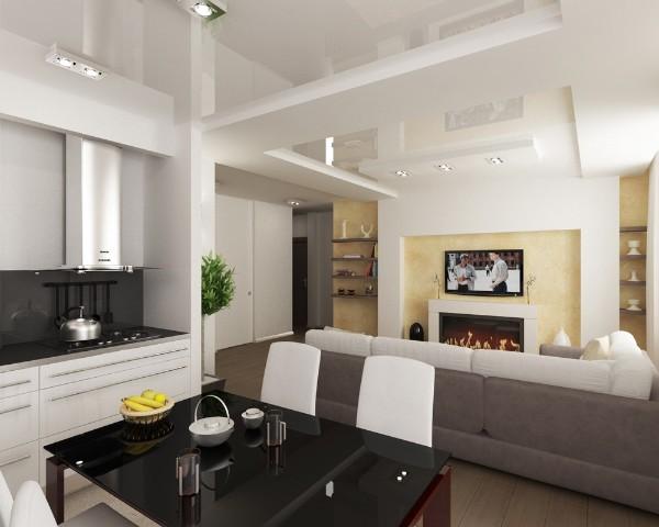 дизайн кухни студии совмещённой с гостиной фото