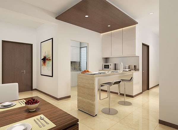дизайн кухни студии совмещённой с гостиной