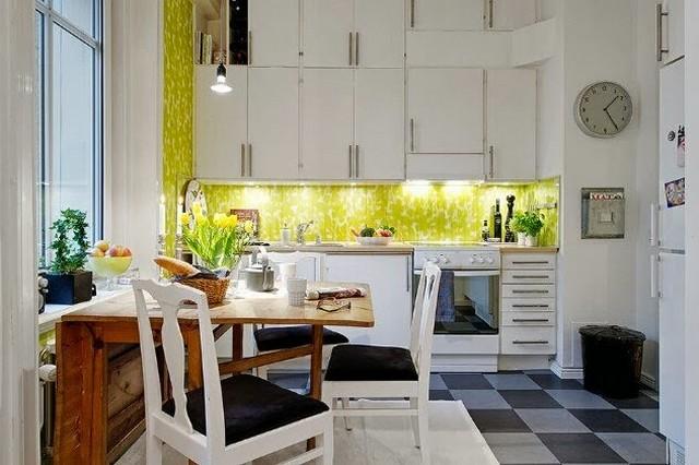 дизайн кухни в скандинавском стиле фартук с подсветкой