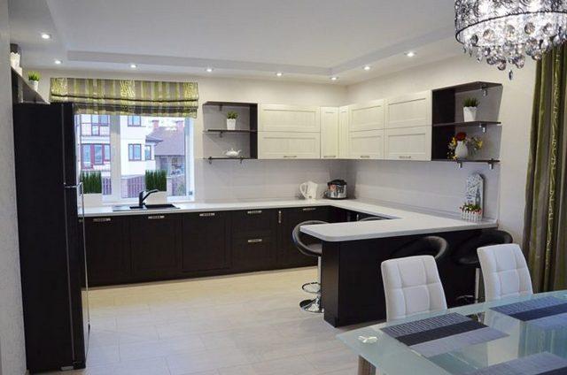 дизайн маленькой кухни с барной стойкой угловая