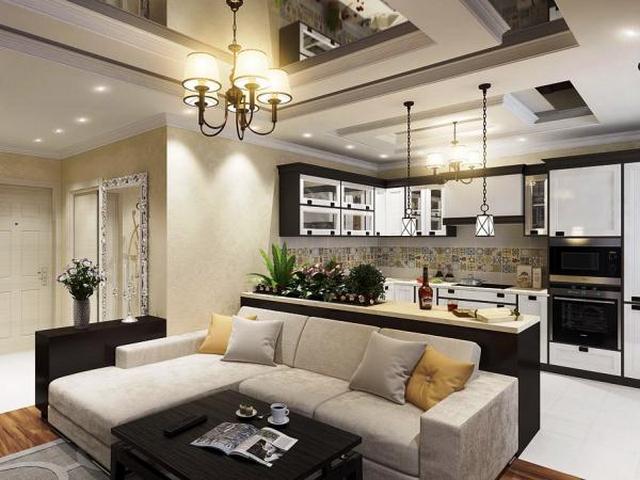 дизайн студия кухня зал интерьера