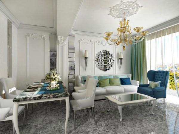 дом во французском стиле белый интерьер гостиной