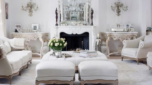 дом во французском стиле дизайн гостиной с белой мебелью