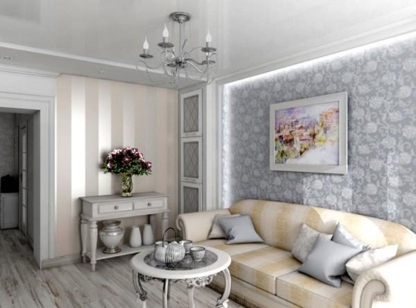 дом во французском стиле гостиная дизайн стена с подсветкой