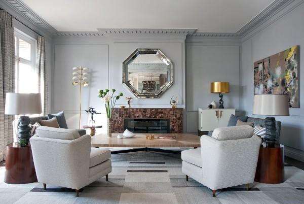 дом во французском стиле гостиная серый тон