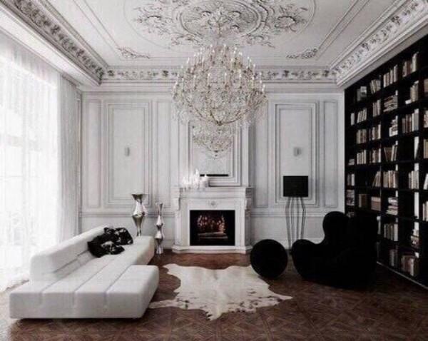 дом во французском стиле гостиная в чёрно-белом цветовом решении