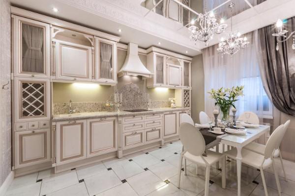 дом во французском стиле интерьер бело-розовой кухни