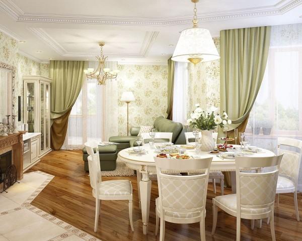 дом во французском стиле интерьер гостиной с оливковыми портретами