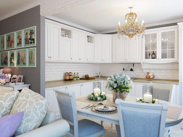 дом во французском стиле студии с кухней
