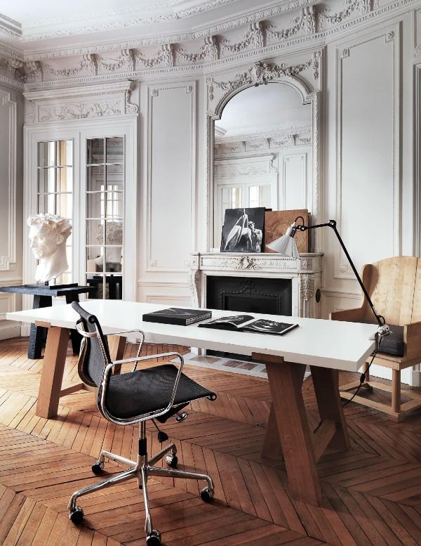дом во французском стиле рабочий кабинет