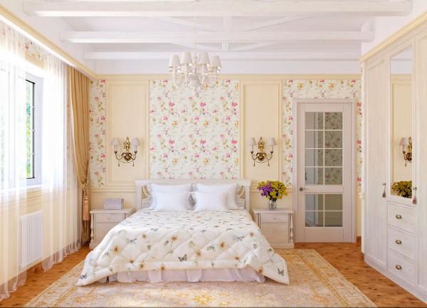 дом во французском стиле спальни обои с цветочным принтом