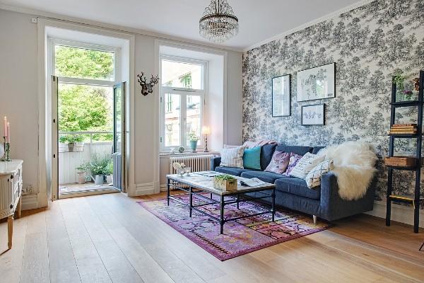 французский стиль интерьер гостиной с панорамными окнами