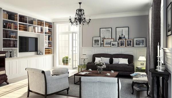 французский стиль интерьер гостиной с серыми стенами и панелями