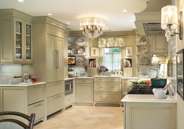 французский стиль интерьер кухни бледно-оливкового цвета
