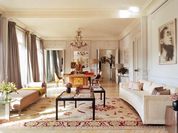 французский стиль в интерьере абрикосовая гостиная