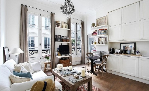 французский стиль в интерьере гостиной большие окна