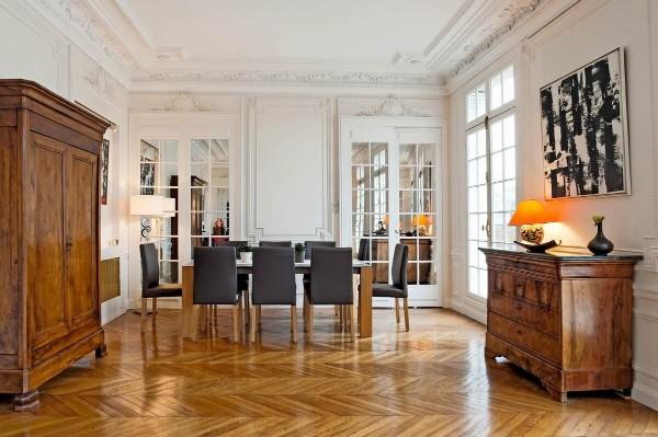 французский стиль в интерьере паркет на полу