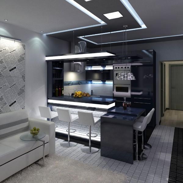 гостиная студия с кухней 18 кв