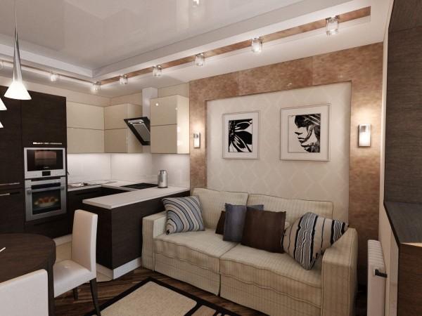 гостиная студия с кухней 20 кв