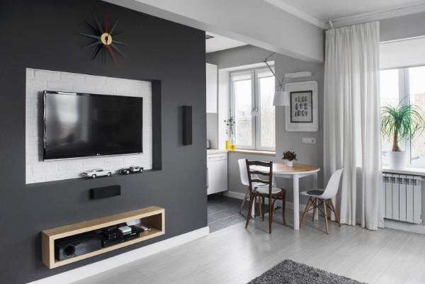 гостиная студия с кухней дизайн фото