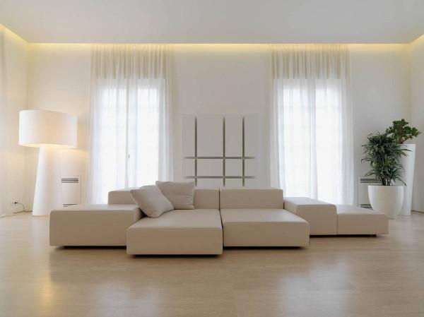 гостиная в стиле минимализм интерьер сливочно-молочного цвета