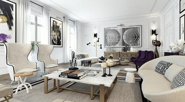 гостиная во французском стиле бело-серый цвет в дизайне