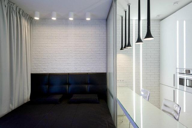 интерьер кухни и спальни в одной комнате