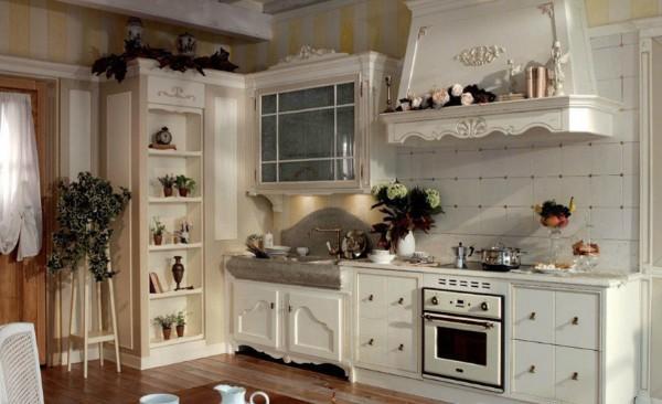 интересный дизайн кухни в стиле французский прованс открытые полки