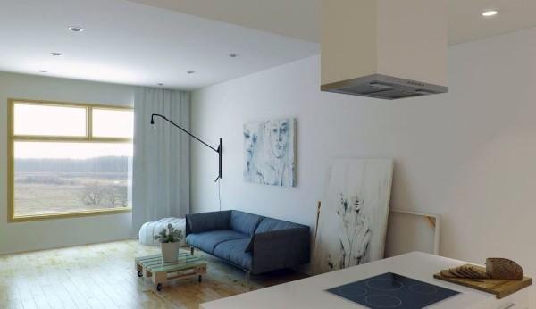 интерьер гостиной студии в стиле минимализм