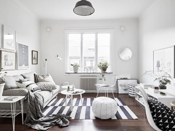 интерьер гостиной в стиле минимализм с элементами скандинавского стиля