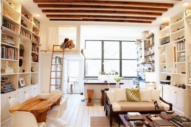 интерьер комнаты студии с кухней фото