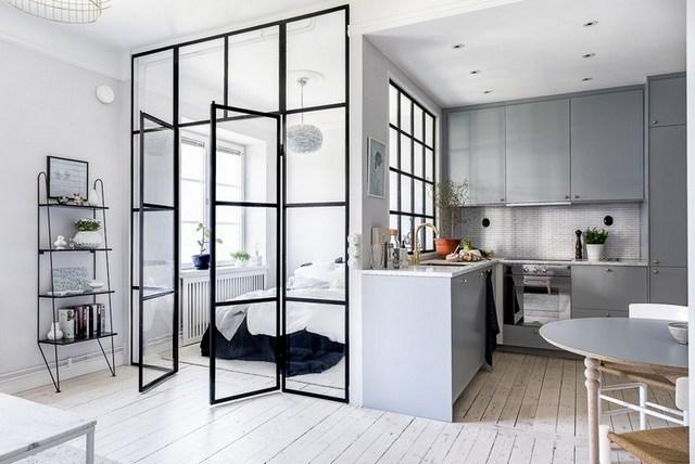 интерьер комнаты студии с кухней