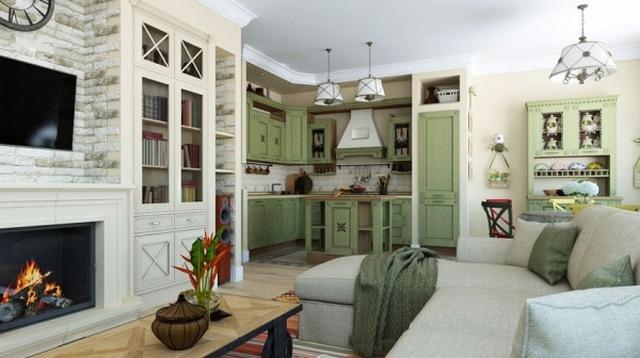 интерьер кухни студии маленькой фото