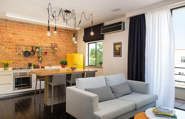 интерьер кухни студии в частном доме фото