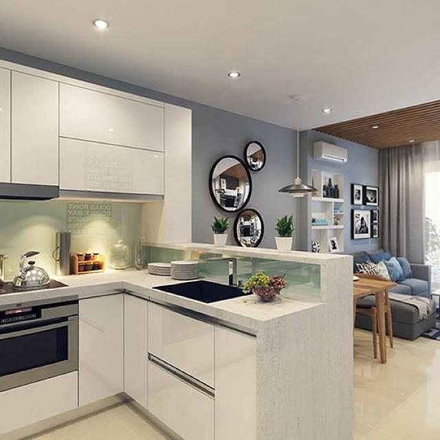 интерьер кухни студии в современном стиле