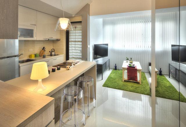 интерьер кухни студия современной