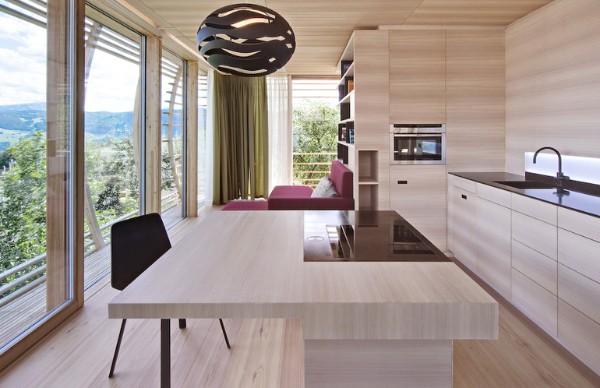 интерьер кухни в стиле минимализм где много дерева