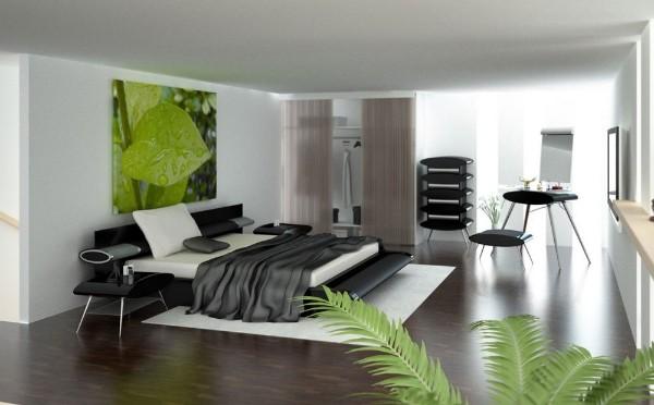 интерьер просторной спальни в стиле минимализм