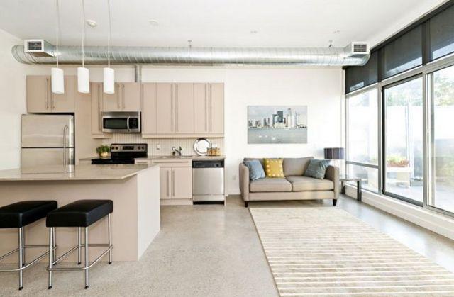 интерьер современной кухни студии