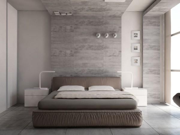 интерьер спальни в стиле минимализм с лофтовыми элементами