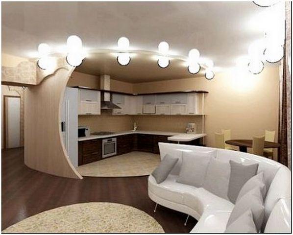 интерьер студии кухня и гостиная фото