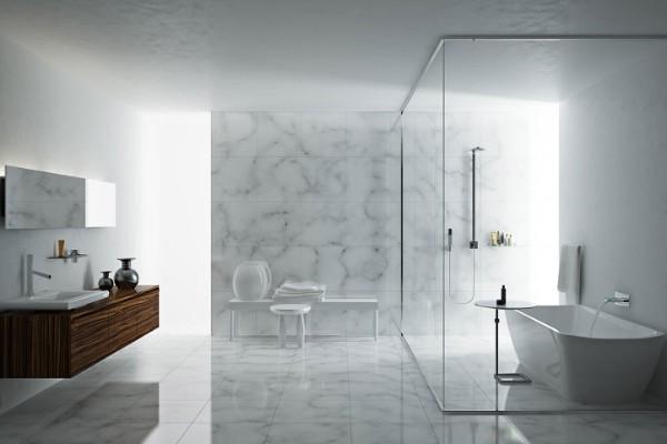 интерьер светло-серой ванной комнаты в стиле минимализм
