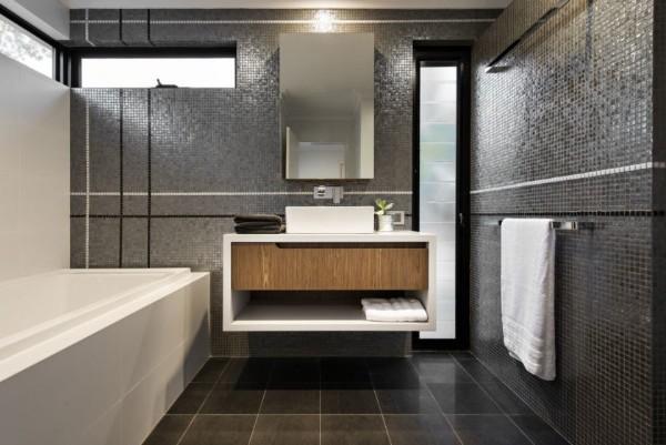 интерьер ванной в стиле минимализм мелкая керамическая плитка