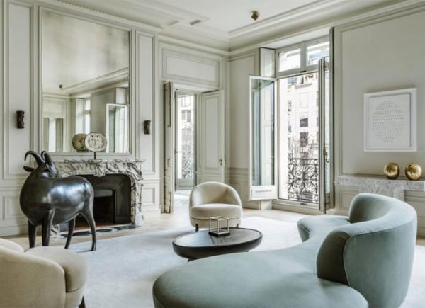 изысканные гостиная серого цвета во французском стиле