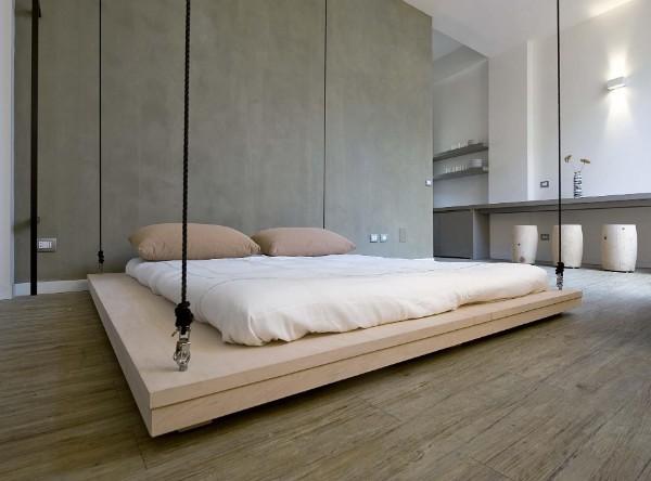 креативный интерьер спальни в стиле минимализм