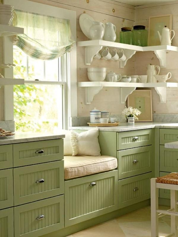 крошечная кухня во французском стиле травяные оттенки