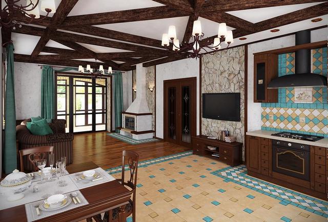 кухни студии в частном доме деревянные