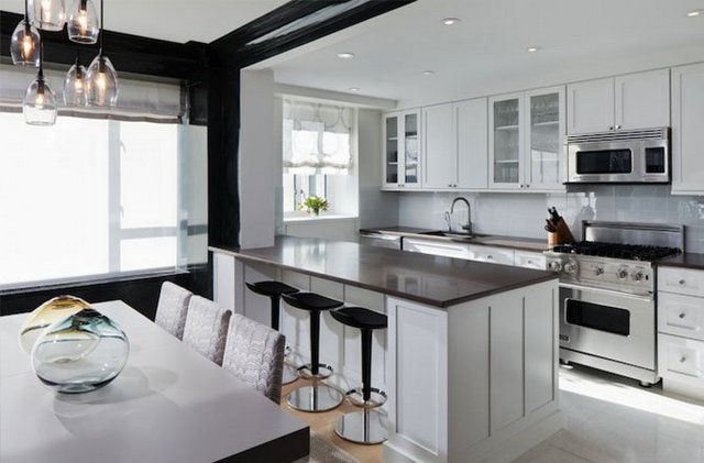 кухни с барной стойкой фото дизайн чёрно-белая